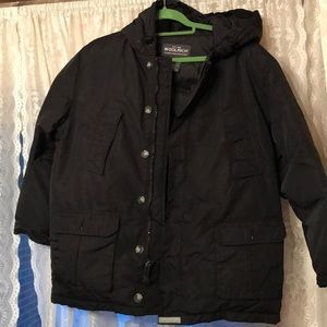 Boys Down Woolrich Parka Coat Zip Botton Hood-L